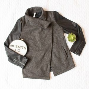 Fabletics   Gray 'Milano' Faux Leather Sleeve Coat